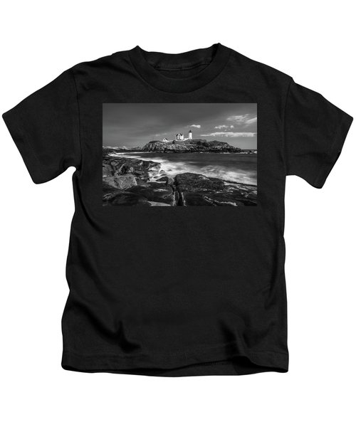 Maine Cape Neddick Lighthouse In Bw Kids T-Shirt