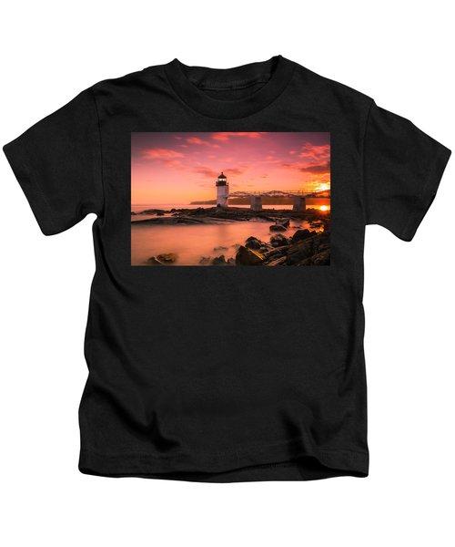 Maine Lighthouse Marshall Point At Sunset Kids T-Shirt