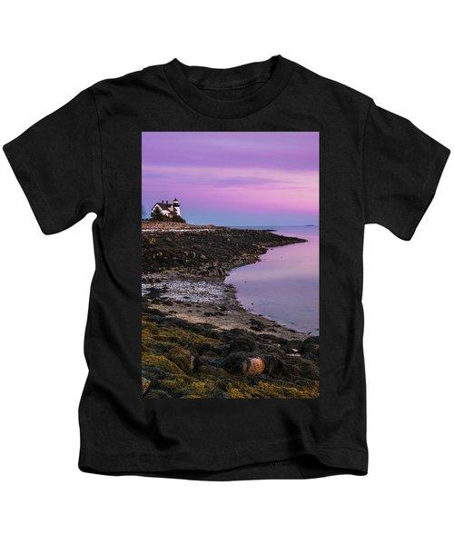 Maine Prospect Harbor Lighthouse Sunset In Winter Kids T-Shirt
