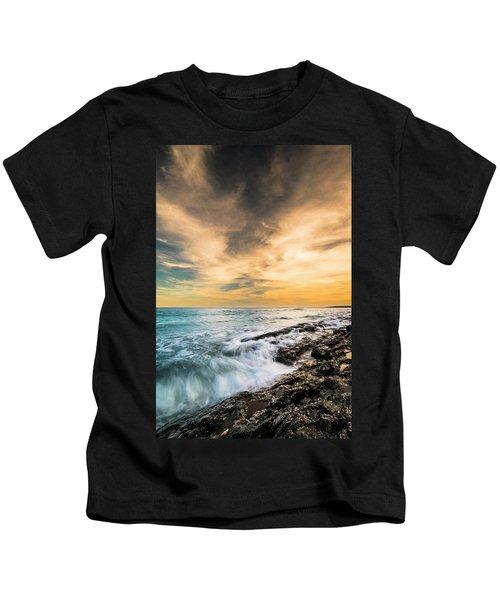 Maine Rocky Coastal Sunset Kids T-Shirt