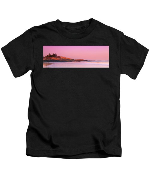 Maine Sheepscot River Bay With Cuckolds Lighthouse Sunset Panorama Kids T-Shirt