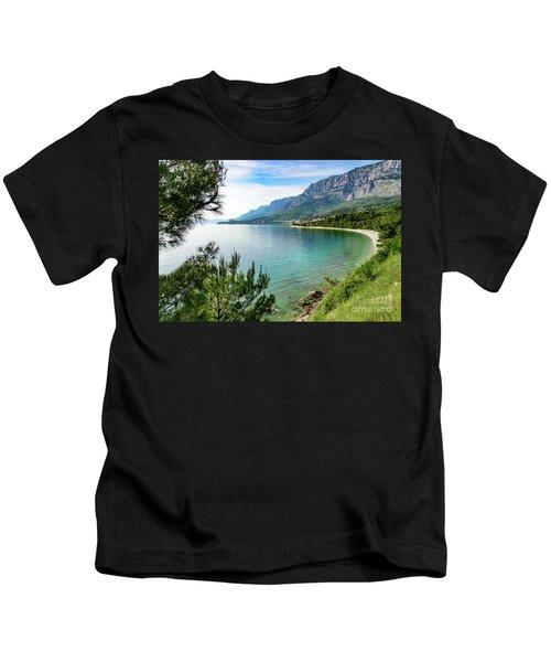 Makarska Riviera White Stone Beach, Dalmatian Coast, Croatia Kids T-Shirt