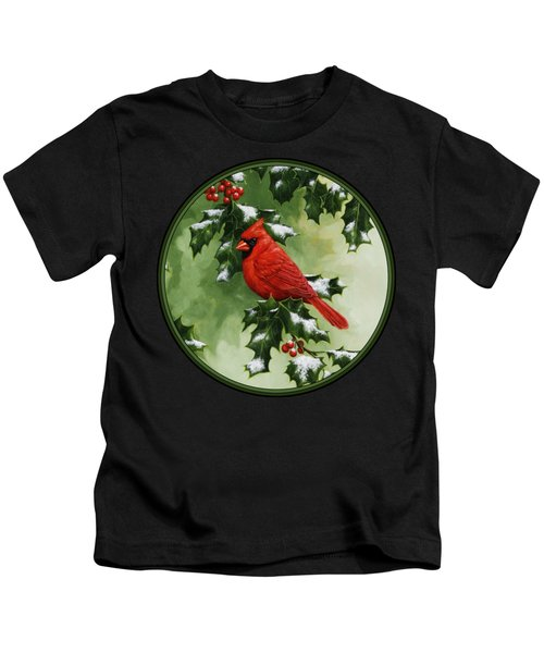 Male Cardinal And Holly Phone Case Kids T-Shirt