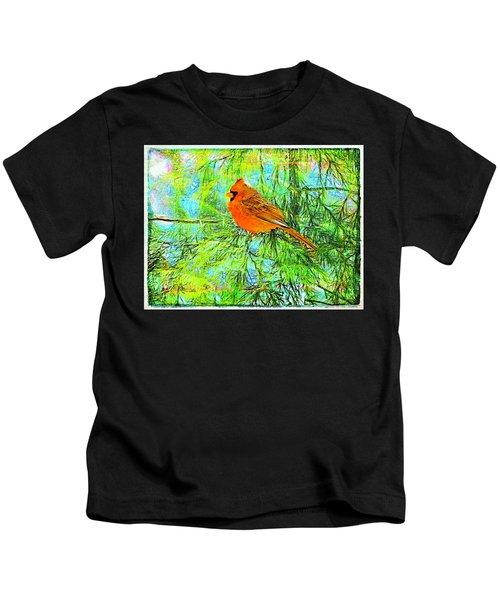 Male Cardinal In Juniper Tree Kids T-Shirt