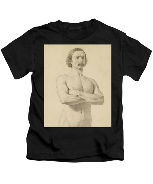 Male Nude - Academic Nude Study, Half-length With Moustache And Arms Folded  Kids T-Shirt