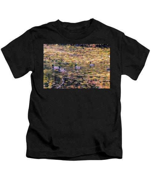 Mallards On Autumn Pond Kids T-Shirt