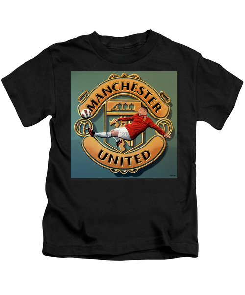 Manchester United Painting Kids T-Shirt by Paul Meijering