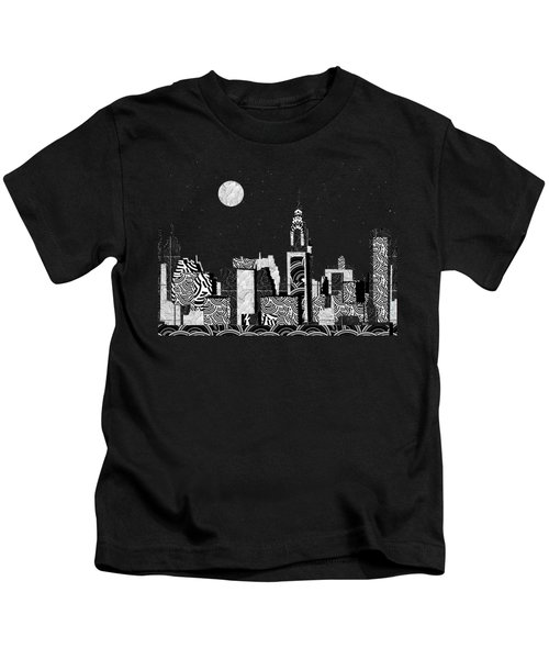 Manhattan At Night New York Swings Kids T-Shirt by Cecely Bloom