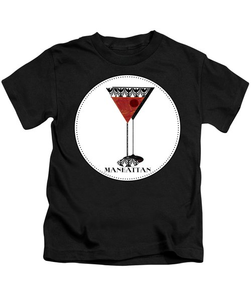 Manhattan Cocktail Pop Art Deco Kids T-Shirt by Cecely Bloom