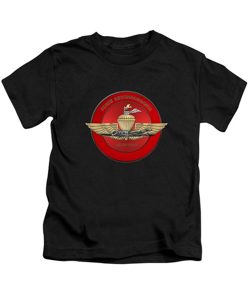 Marine Force Reconnaissance  -  U S M C   F O R E C O N  Insignia Over Black Velvet Kids T-Shirt