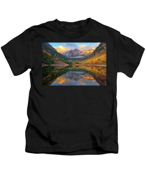 Maroon Bells Autumn Reflections Kids T-Shirt