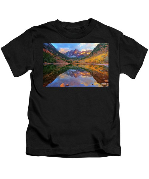 Maroon Lake Dawn Kids T-Shirt