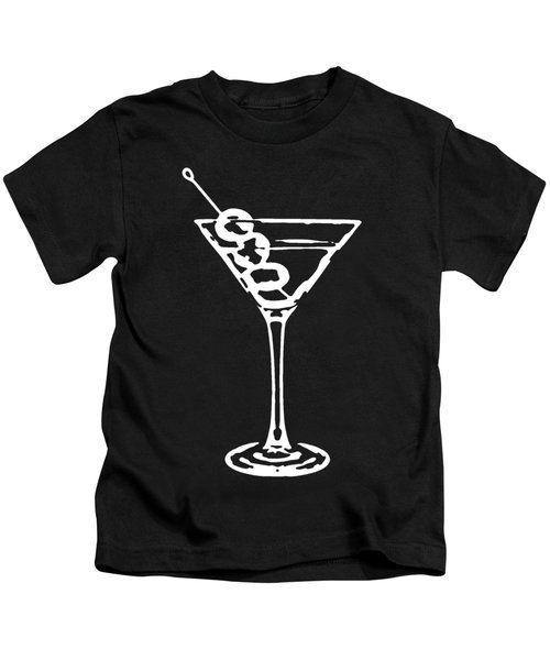Kids T-Shirt featuring the digital art Martini Glass Tee White by Edward Fielding