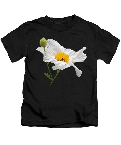 Matilija Poppy On Black Kids T-Shirt