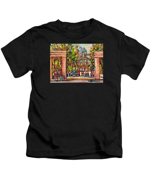 Mcgill Gates  Entrance Of Mcgill University Montreal Quebec Original Oil Painting Carole Spandau Kids T-Shirt