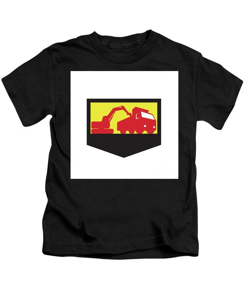Mechanical Digger Loading Dump Truck Shield Retro Kids T-Shirt