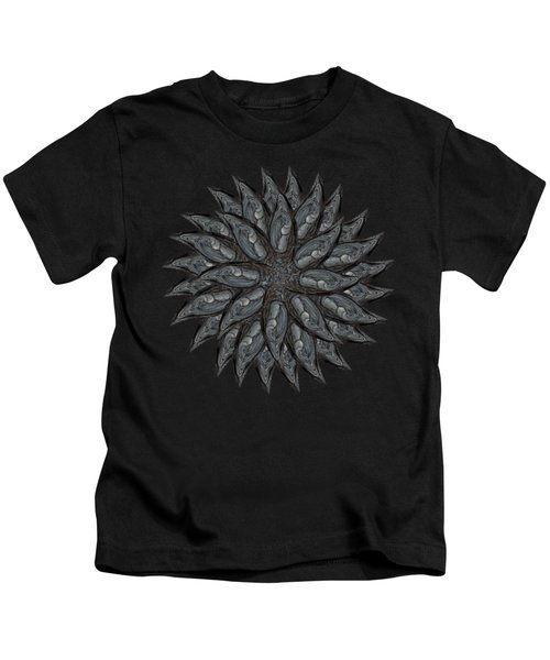 Meditating Monks In Green Kaleidoscope Kids T-Shirt