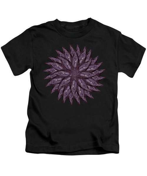 Meditating Monks In Lavender Kaleidoscope Kids T-Shirt