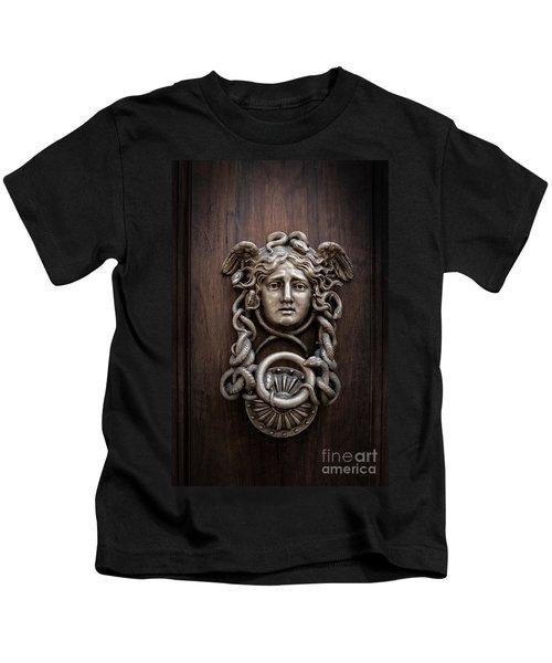 Medusa Head Door Knocker Kids T-Shirt by Edward Fielding