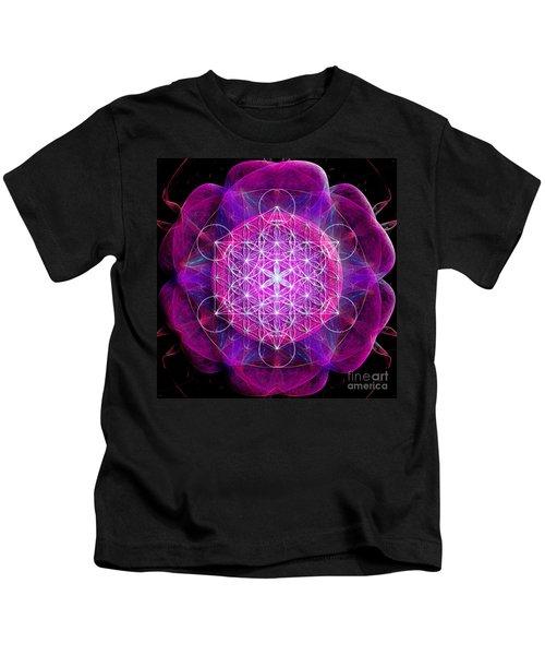 Metatron's Cube On Fractal Pletals Kids T-Shirt