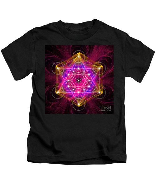 Metatron's Cube With Flower Of Life Kids T-Shirt