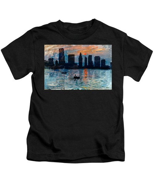 Miami Skyline 7 Kids T-Shirt by Andrew Fare