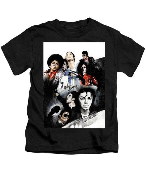 Michael Jackson - King Of Pop Kids T-Shirt by Lin Petershagen