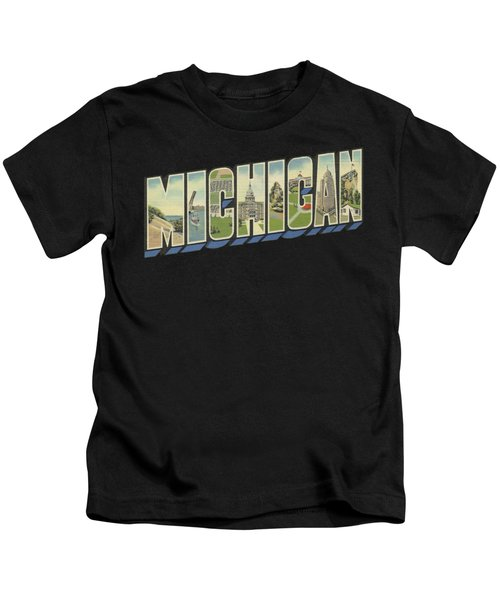 Michigan In Vintage Big Letter Word Art Kids T-Shirt