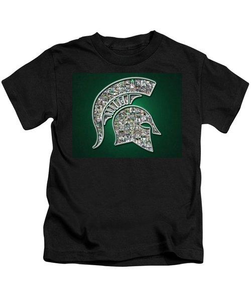 Michigan State Spartans Football Kids T-Shirt by Fairchild Art Studio