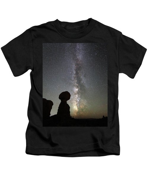 Milky Way Over Balanced Rock Kids T-Shirt