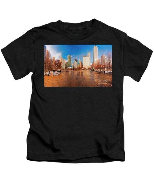 Millennium Park Skyline And The Bean  Kids T-Shirt