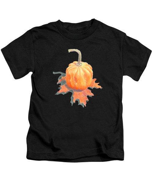 Miniature Pumpkin On Oak Leaf Still Life Kids T-Shirt