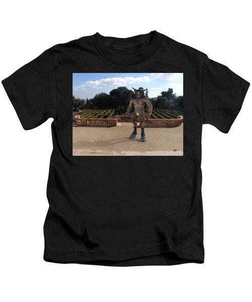 Minotaur In The Labyrinth Park Barcelona. Kids T-Shirt