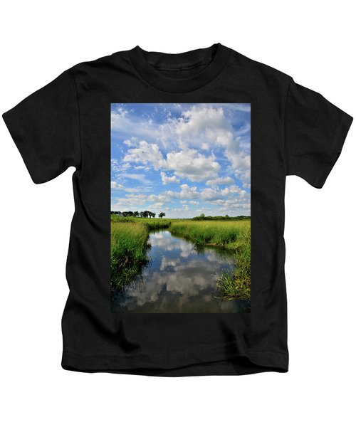 Mirror Image Of Clouds In Glacial Park Wetland Kids T-Shirt