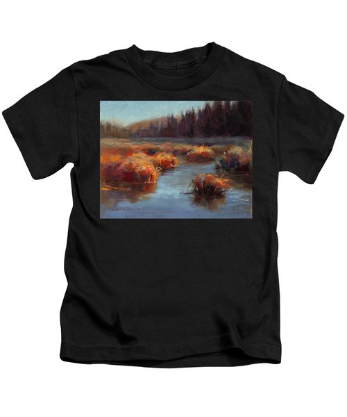 Misty Autumn Meadow With Creek And Grass - Landscape Painting From Alaska Kids T-Shirt