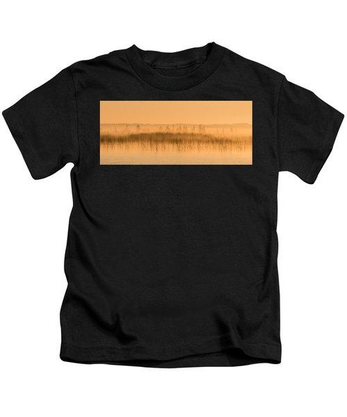 Misty Morning Floating Bog Island On Boy Lake Kids T-Shirt