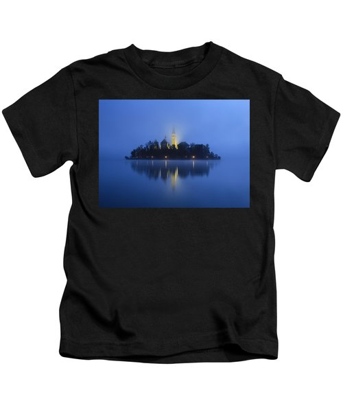 Misty Morning Lake Bled Slovenia Kids T-Shirt