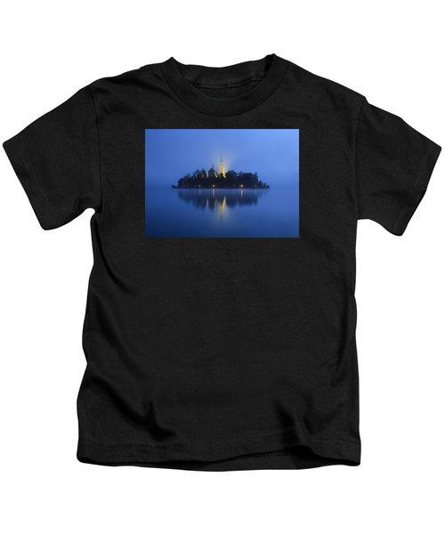 Misty Morning Lake Bled Slovenia Kids T-Shirt