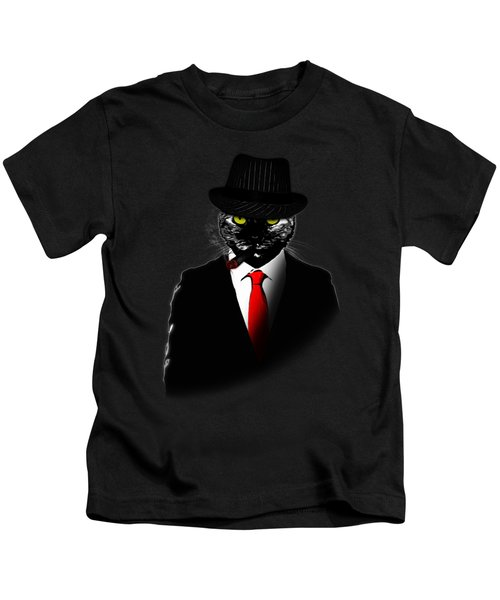 Mobster Cat Kids T-Shirt