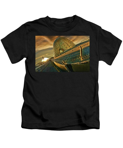 Moffett Field Hangar One At Dusk Kids T-Shirt