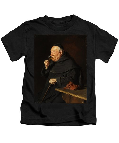 Monk With A Wine Kids T-Shirt