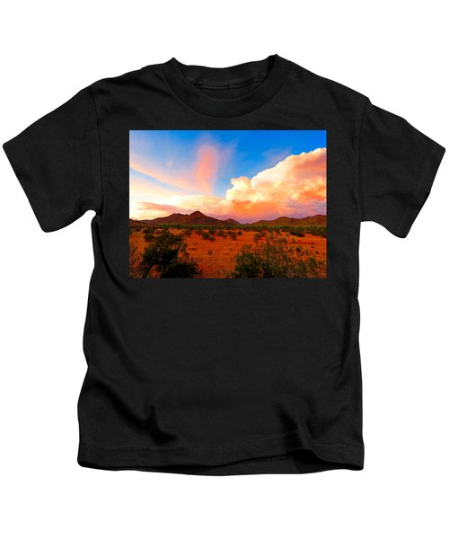 Kids T-Shirt featuring the photograph Monsoon Storm Sunset by Judy Kennedy