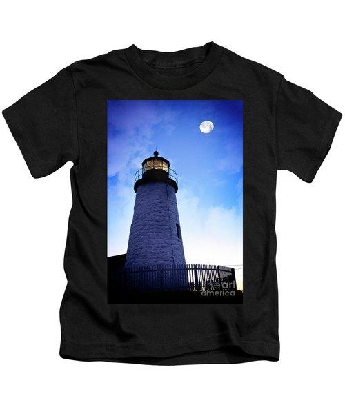 Moon Over Lighthouse Kids T-Shirt