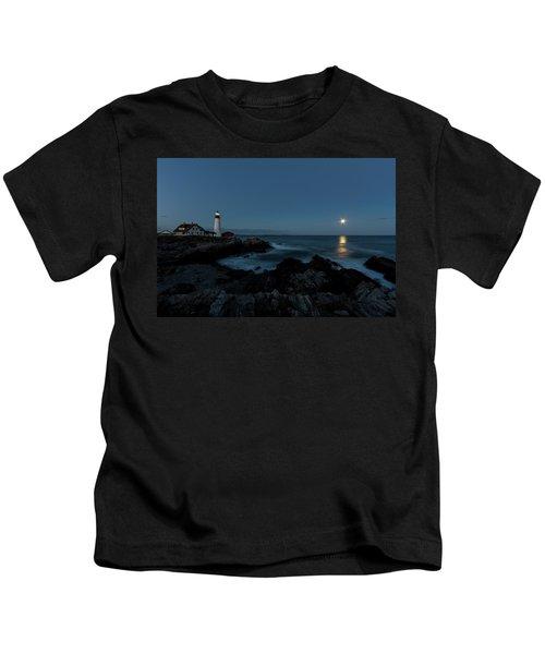 Moon Rise At Portland Headlight Kids T-Shirt