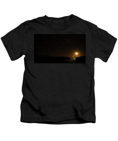 Moon Set Over Palm Valley Kids T-Shirt