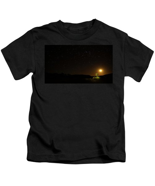 Moon Set Over Palm Valley Kids T-Shirt