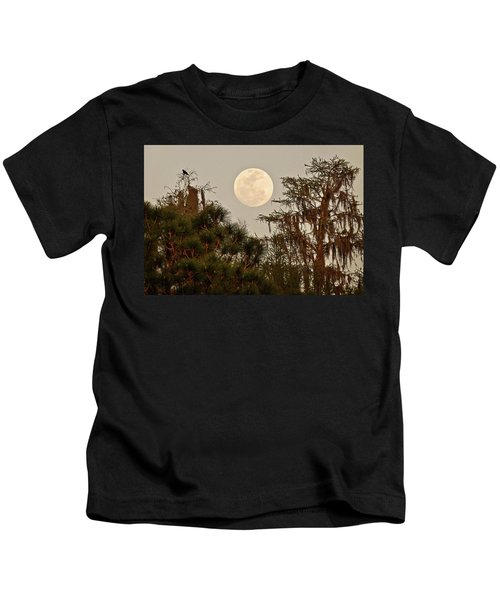 Moonrise Over Southern Pines Kids T-Shirt