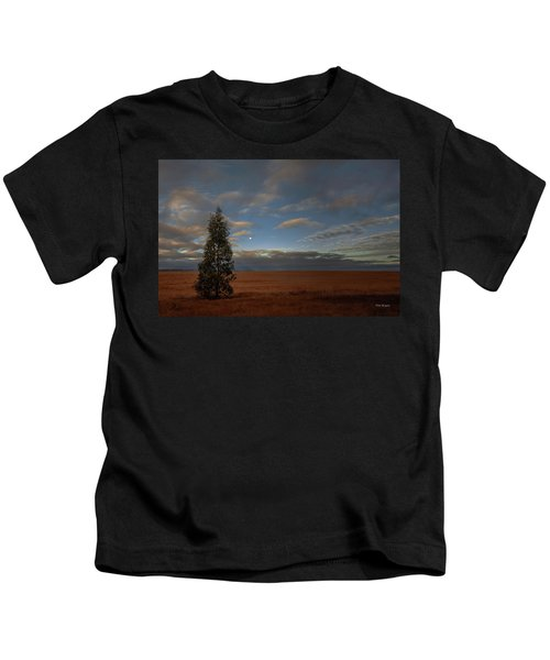 Moonset  In A Large Morning Sky Kids T-Shirt
