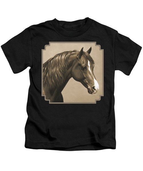 Morgan Horse Painting In Sepia Kids T-Shirt