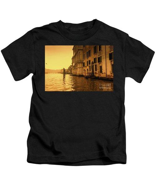Morning In Venice Sepia Kids T-Shirt